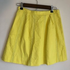 NWOT J.Crew Yellow Skirt with Lace Insets